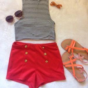 Orange Buttoned Shorts